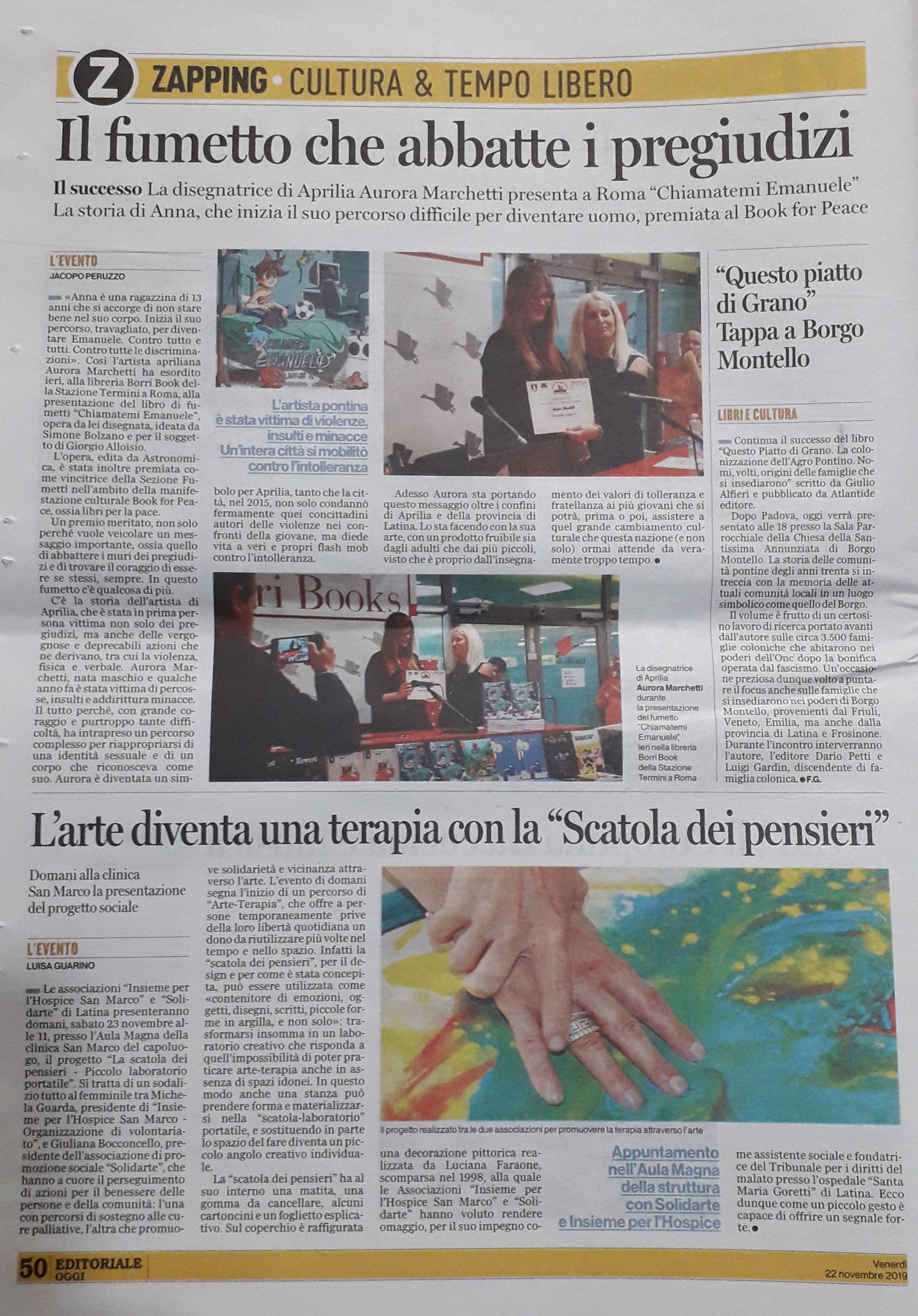 articolo Latina Oggi del 22.11.2019
