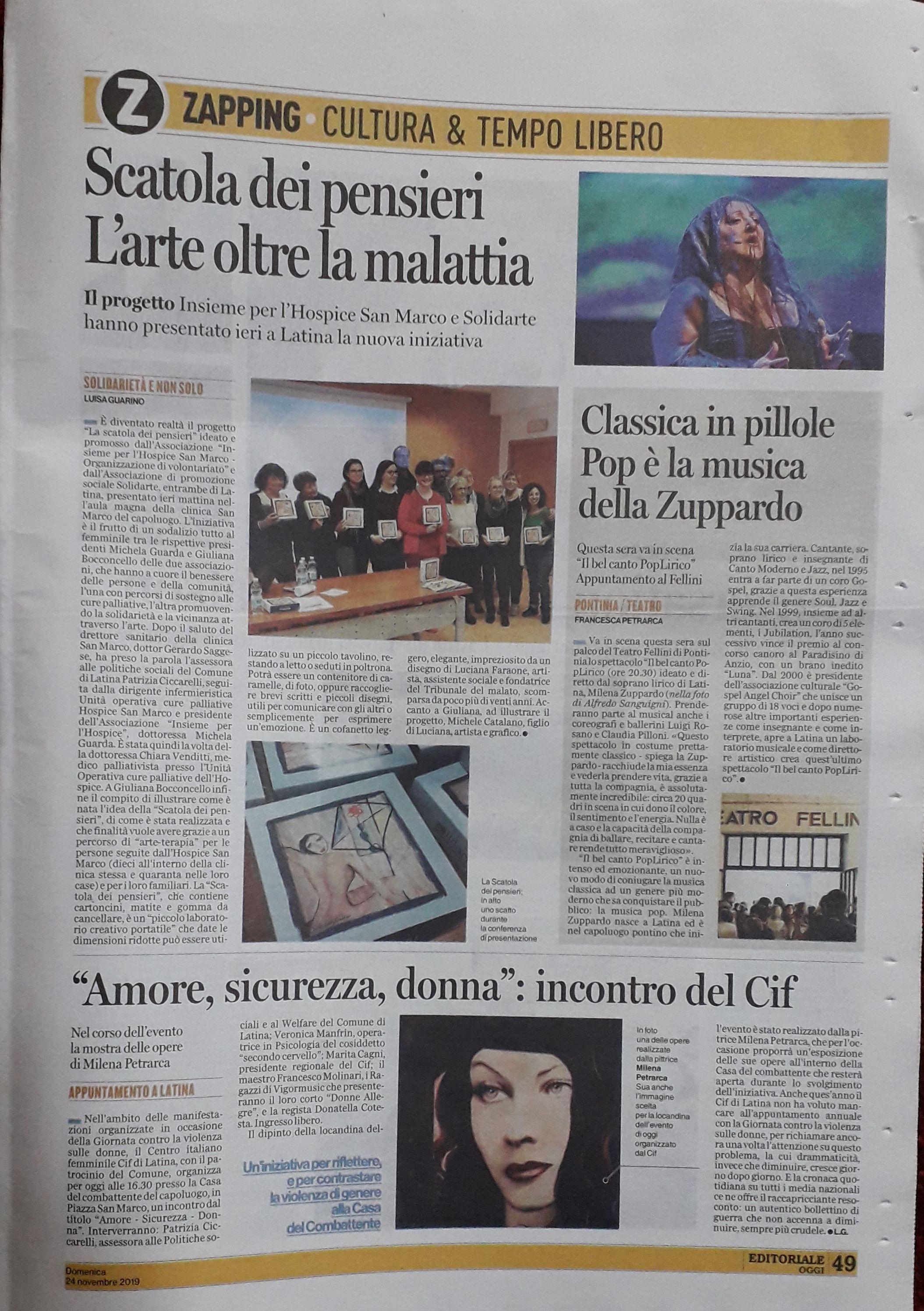 articolo Latina Oggi del 24 novembre 2019