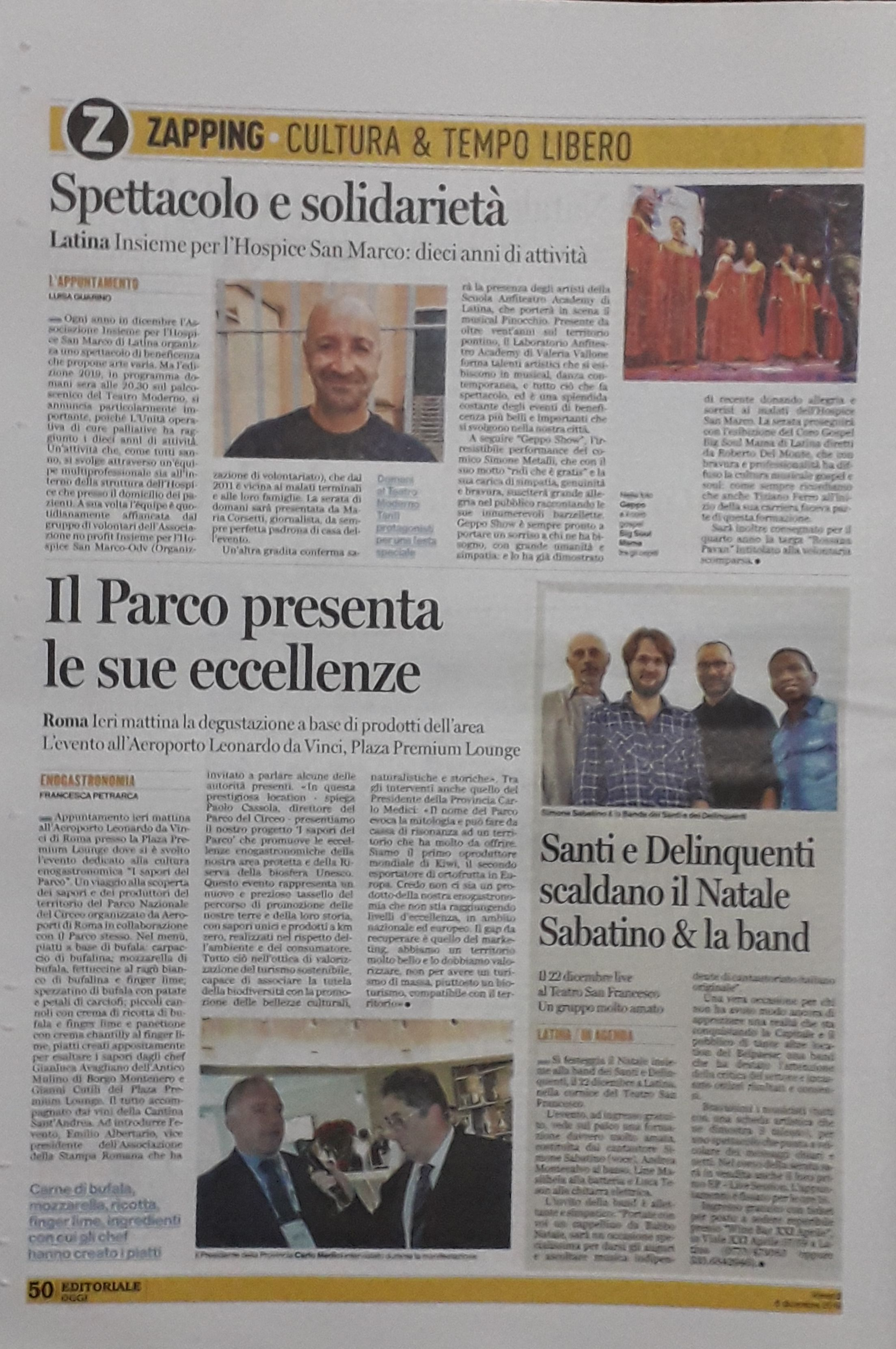 articolo Latina Oggi del 6 dicembre 2019